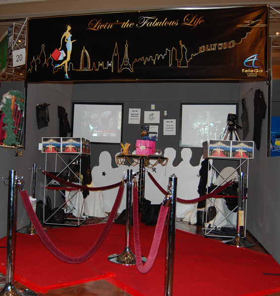 TeleGo trade show booth; banner in the booth