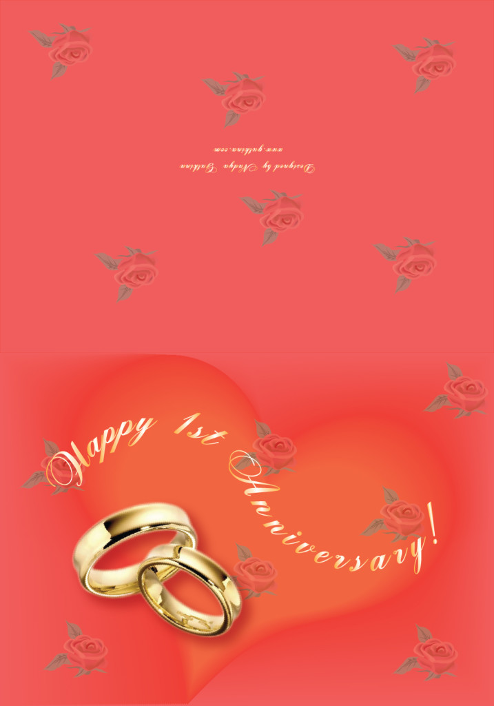 'Happy 1st Anniversary' Greeting Card